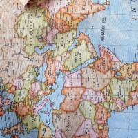 Geographical map fabric light blue