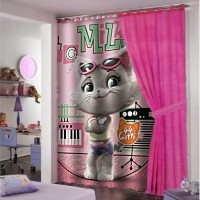Pink 44 cats ready made curtain