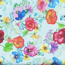 light blue fabric with violets purple, yellow, orange, blue, and red