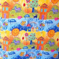 Fabric with kids design and colored pictures 280x280cm