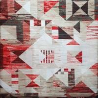 Red black and beige rhombuses Loneta fabric 280x280cm