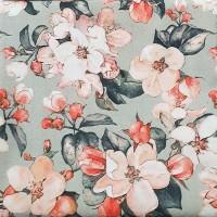 Peach floral Loneta gray fabric 280x280cm