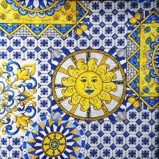 Golden sun fabric Loneta on blue tile background