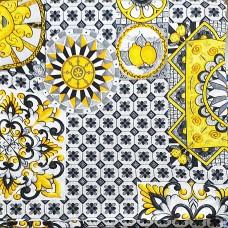 Golden sun fabric Loneta on black tile background