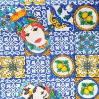 Blue maiolic fabric with Caltagirone design 280x280cm