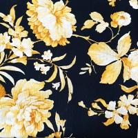 Black fabric Loneta with gold roses