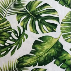 Green large leaves cotton fabric