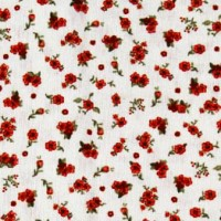 Red little flowers cotton fabric