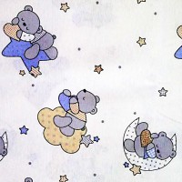 Light blue stars and bears fabric