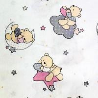 Pink stars and bears fabric