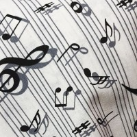 White musical notes fabric