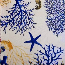 Blue orange or red coral and Starfish white fabric