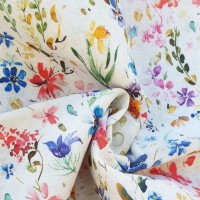 Little multicolor flowers loneta fabric