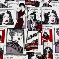 Pop-art fabric with comics black and red