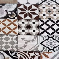 Gray and brown tile fabric