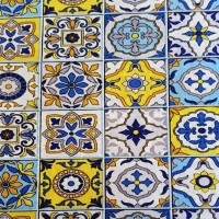 Yellow and blue tile fabric