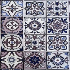 black blue and brown tile fabric