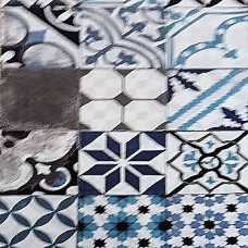 Black and light blue tile fabric