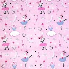 Pink dancers loneta fabric
