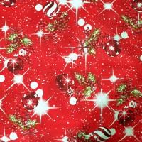Red christmas balls fabric