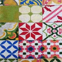 Multicolor tile fabric