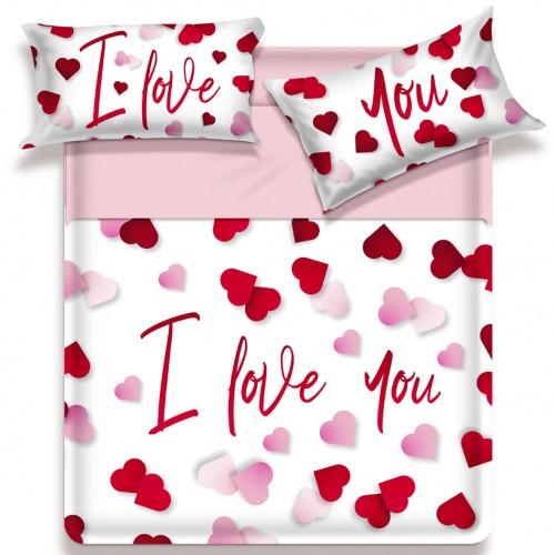 Completo Lenzuola Matrimoniale Biancaluna Miss Terry I Love You