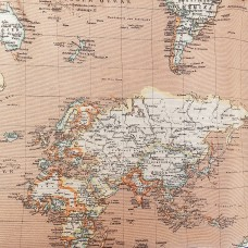 Geographical map fabric by the meter light brown