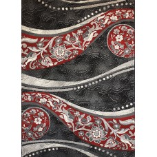 Frse black and red carpet 100x150 with flowers