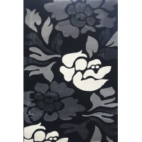 Lurex black carpet 100x150 with flowers grey and white