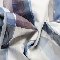Grey and light blue devoreh geometric curtain