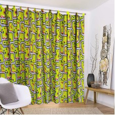 Green curtain with cars