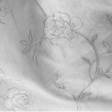 Grey roses embroidered curtain