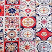 Red blue and yellow tile fabric