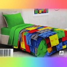 Lego bricks soft quilt for twin bed